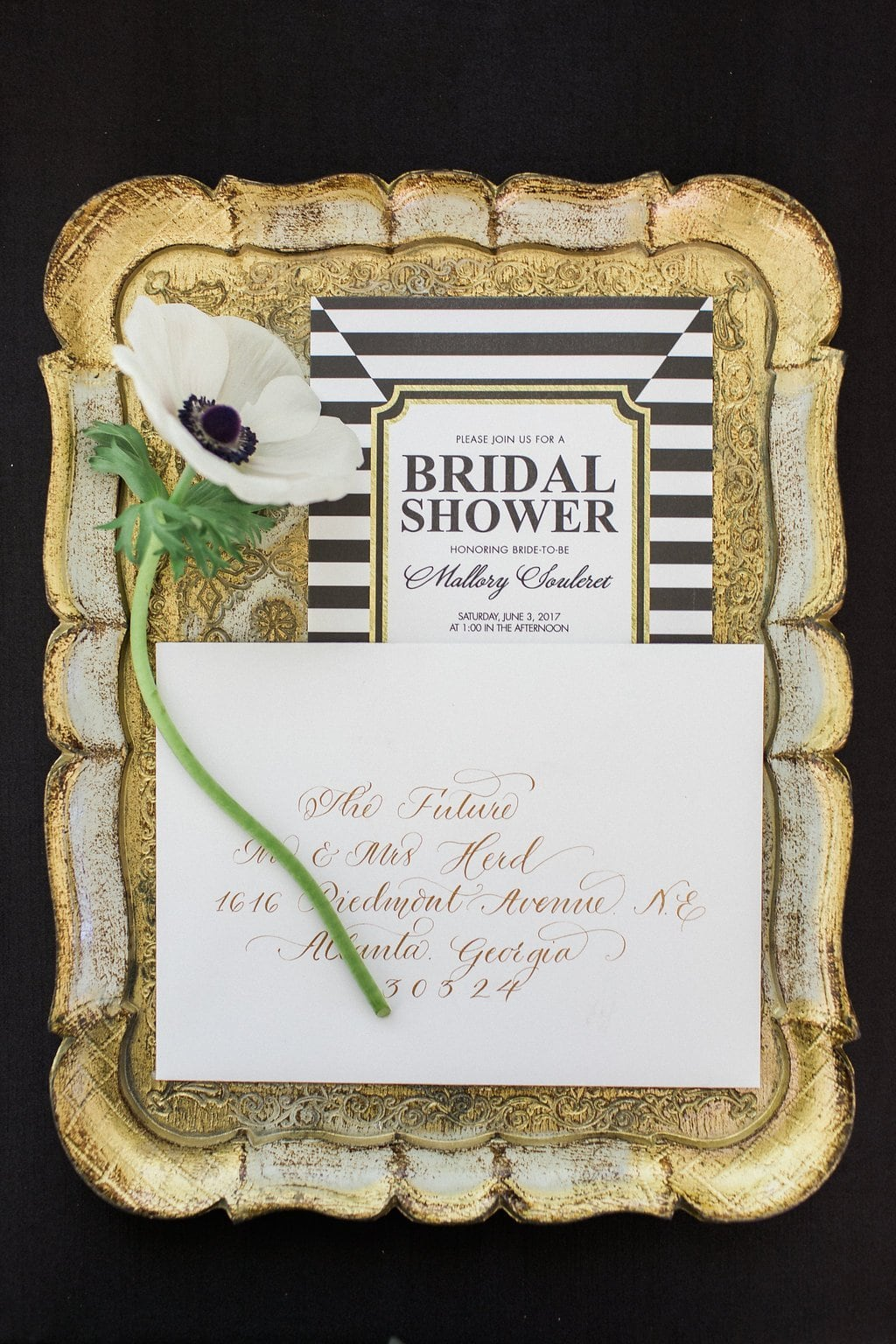black and white bridal shower invitations on gold antique tray - Black & White Kate Spade Inspired Bridal Shower
