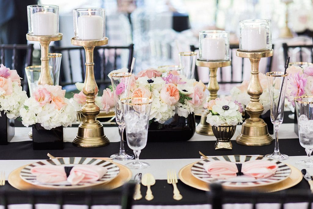 black and white inspired kate spade bridal shower with gold and pink accents