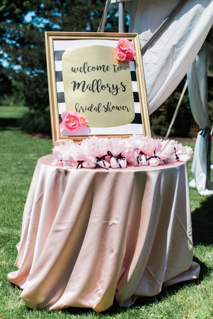 gift bags wrapped in pink tissue and signage at kate spade inspired bridal shower