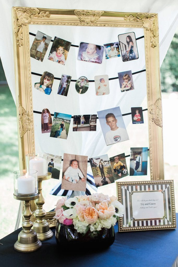 baby photographs guessing game of bride and groom in gold frame at shower