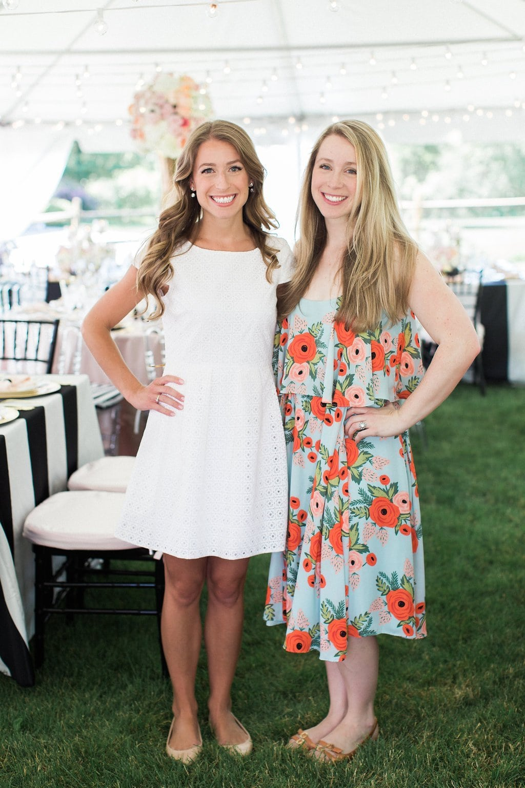 bride and sister at kate spade inspired bridal shower - Black & White Kate Spade Inspired Bridal Shower