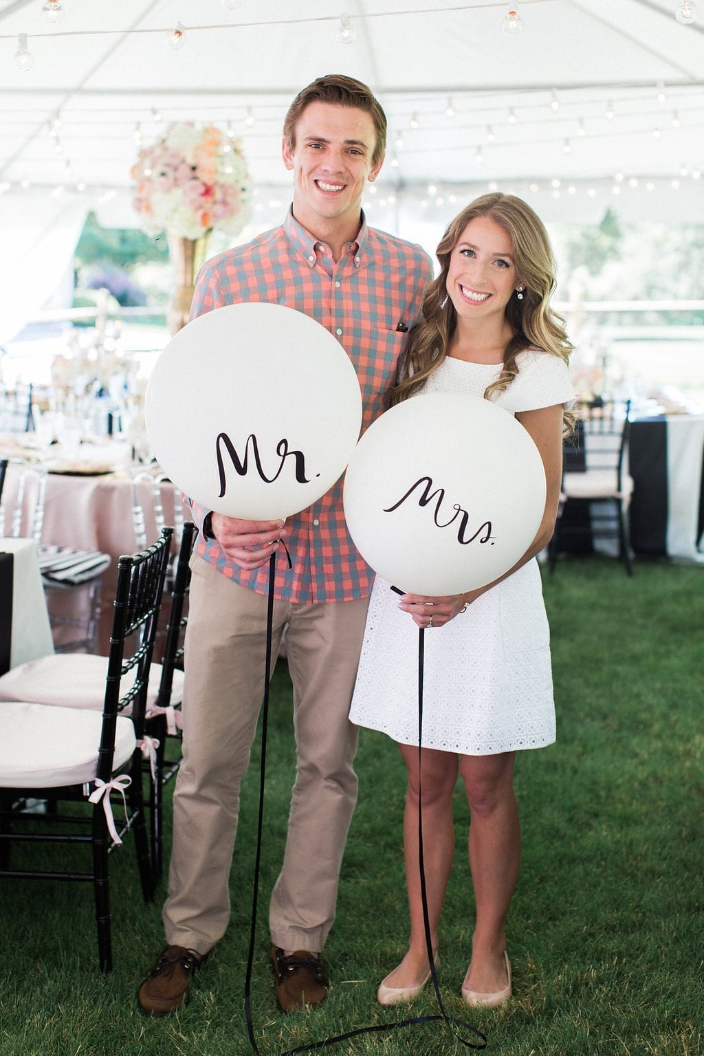 bride and groom with white mr. and mrs. balloons at bridal shower - Black & White Kate Spade Inspired Bridal Shower