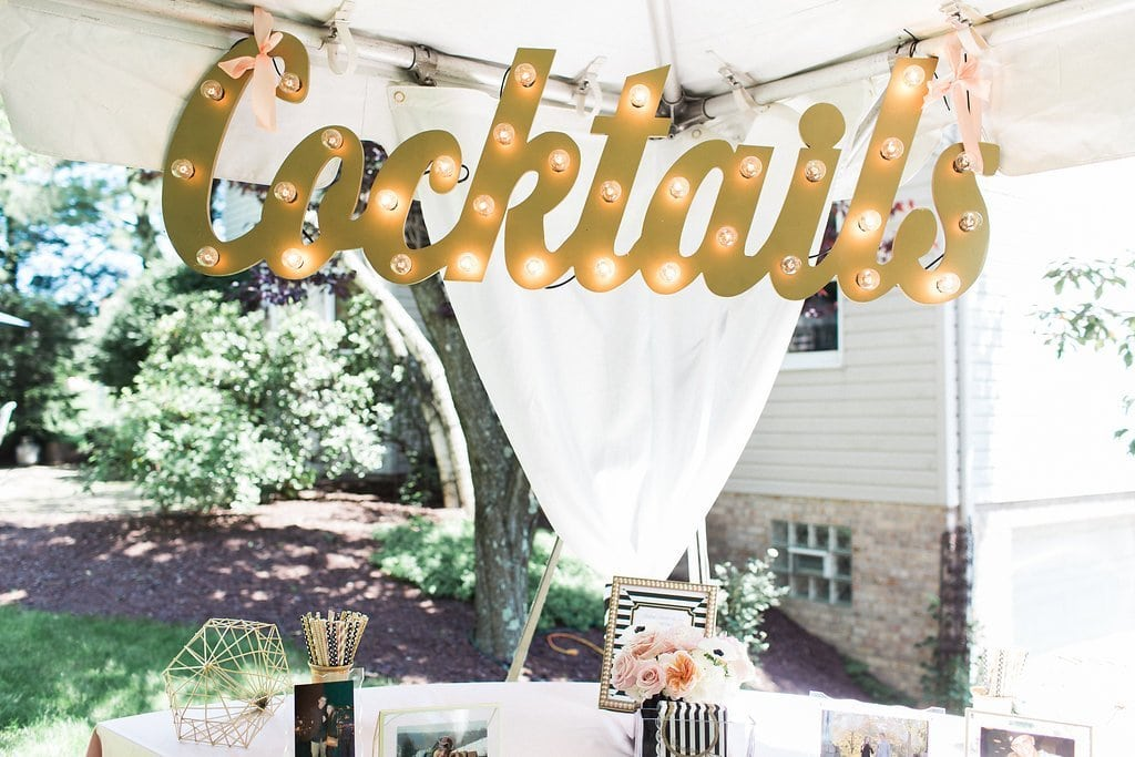 gold cocktail sign with lights at kate spade inspired bridal shower - Black & White Kate Spade Inspired Bridal Shower