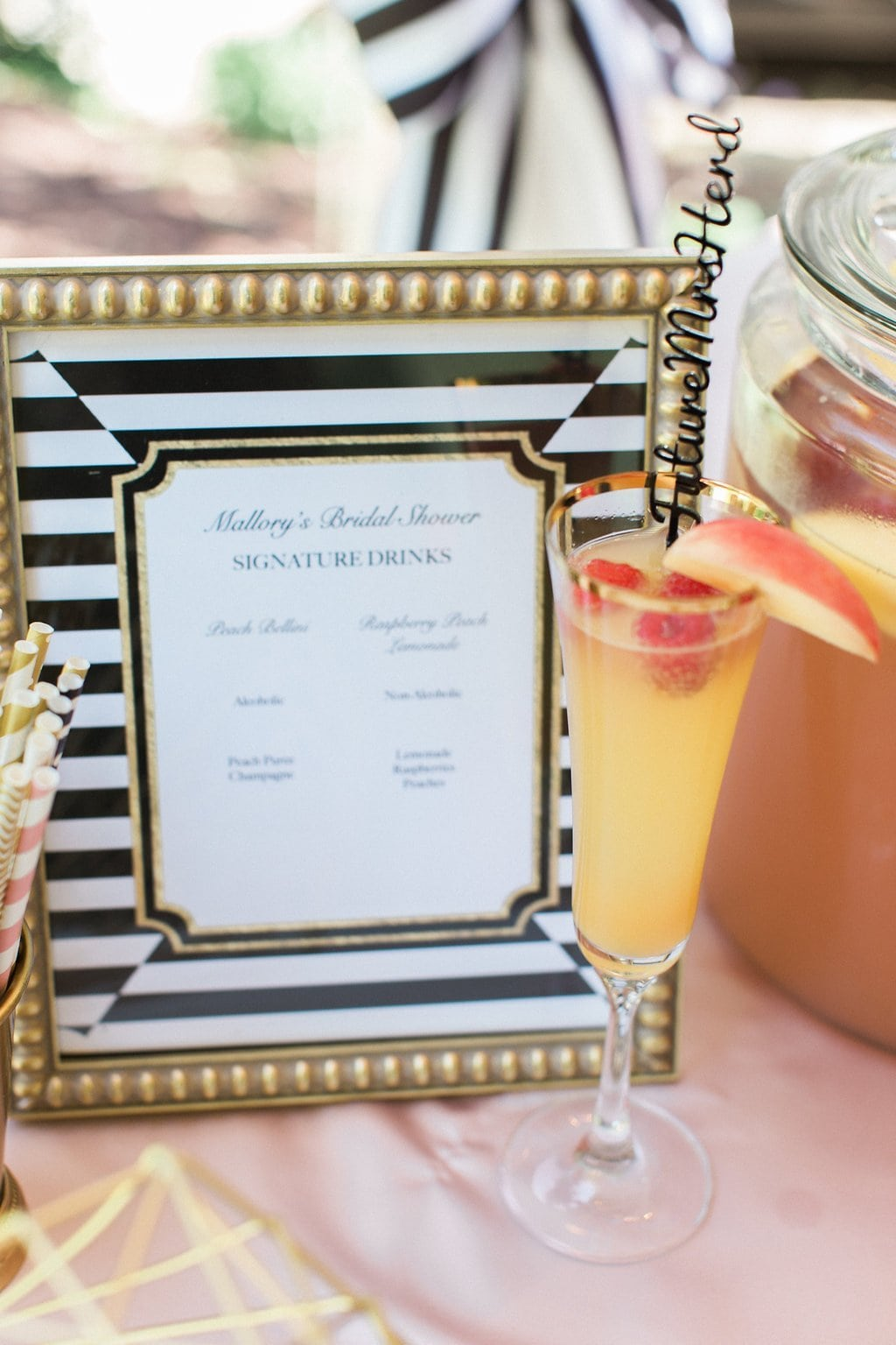 signature drink list with cocktail at bridal shower - Black & White Kate Spade Inspired Bridal Shower
