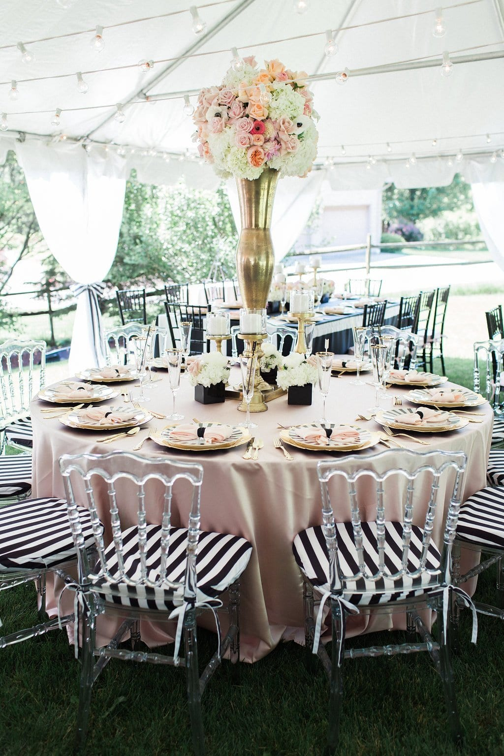 kate space inspired bridal shower with pink table cloth, black and white accents and florals - Black & White Kate Spade Inspired Bridal Shower