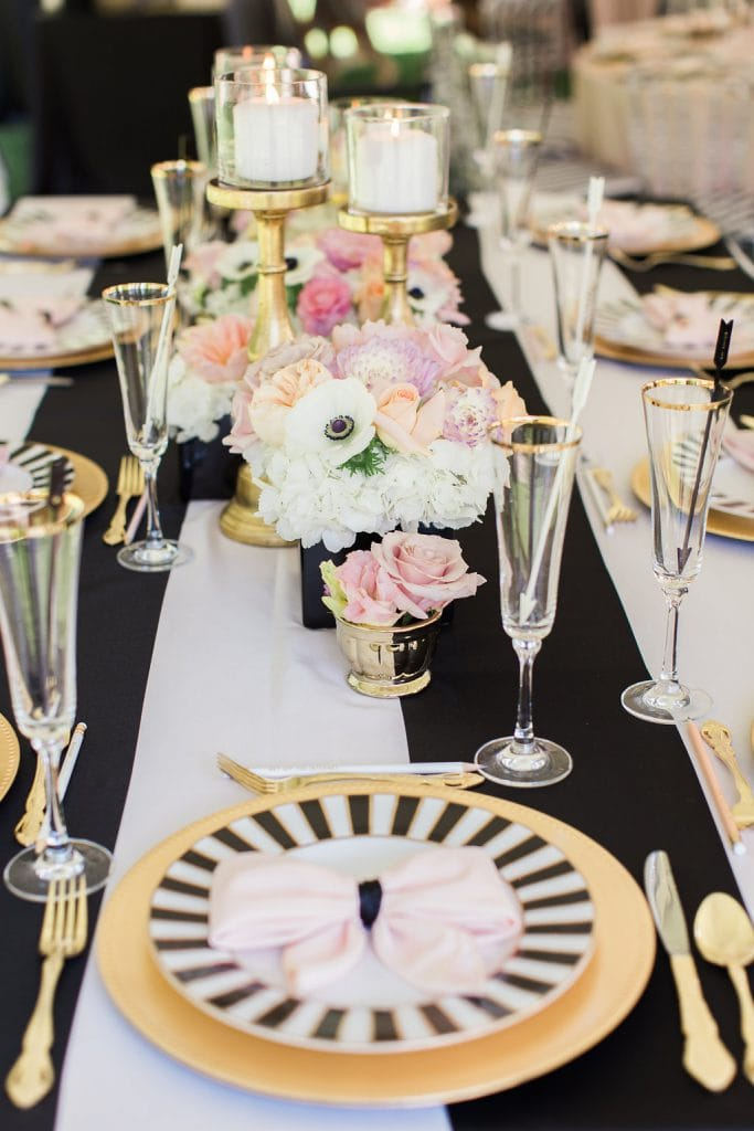 black and white inspired kate spade bridal shower table setting