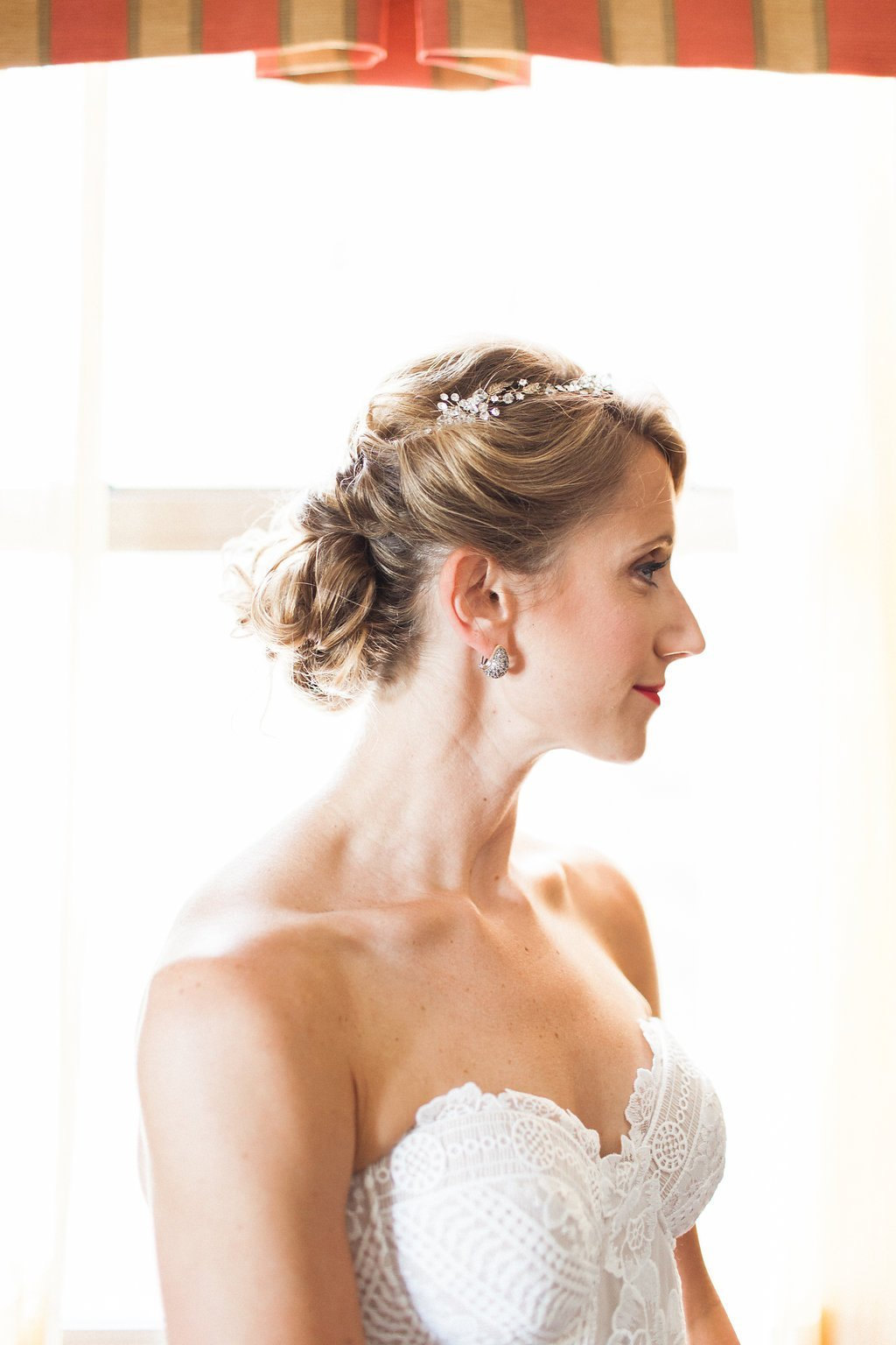 Portrait of Bride getting ready at the Omni William Penn Hotel - 1920's inspired wedding Grand Concourse