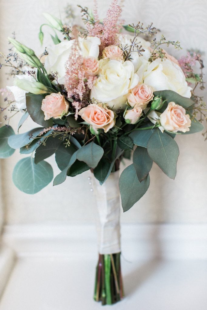 Bride's bouquet from Blumengarten of blush pink, white, and green at the Omni William Penn