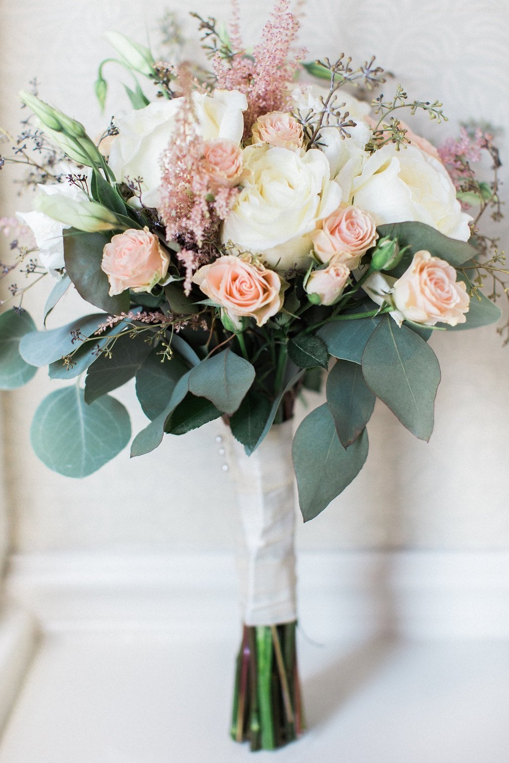 Bride's bouquet from Blumengarten of blush pink, white, and green at the Omni William Penn - 1920's inspired wedding Grand Concourse