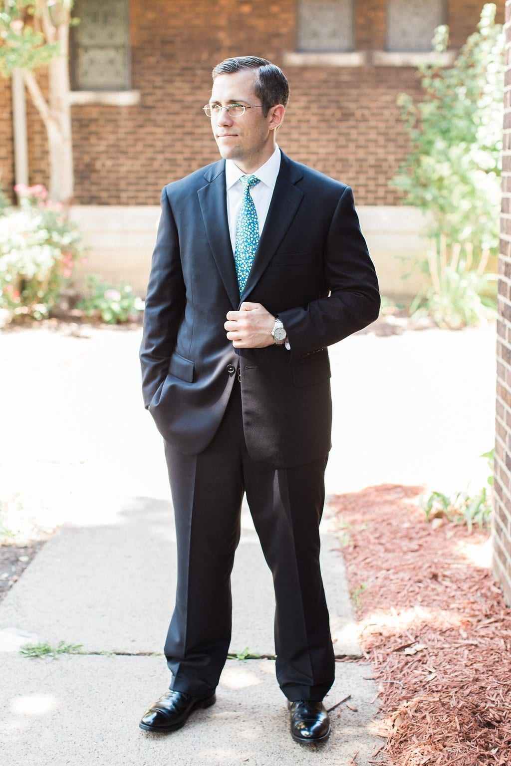 Groom portraits outside the St. Anselm Catholic Church - 1920's inspired wedding Grand Concourse