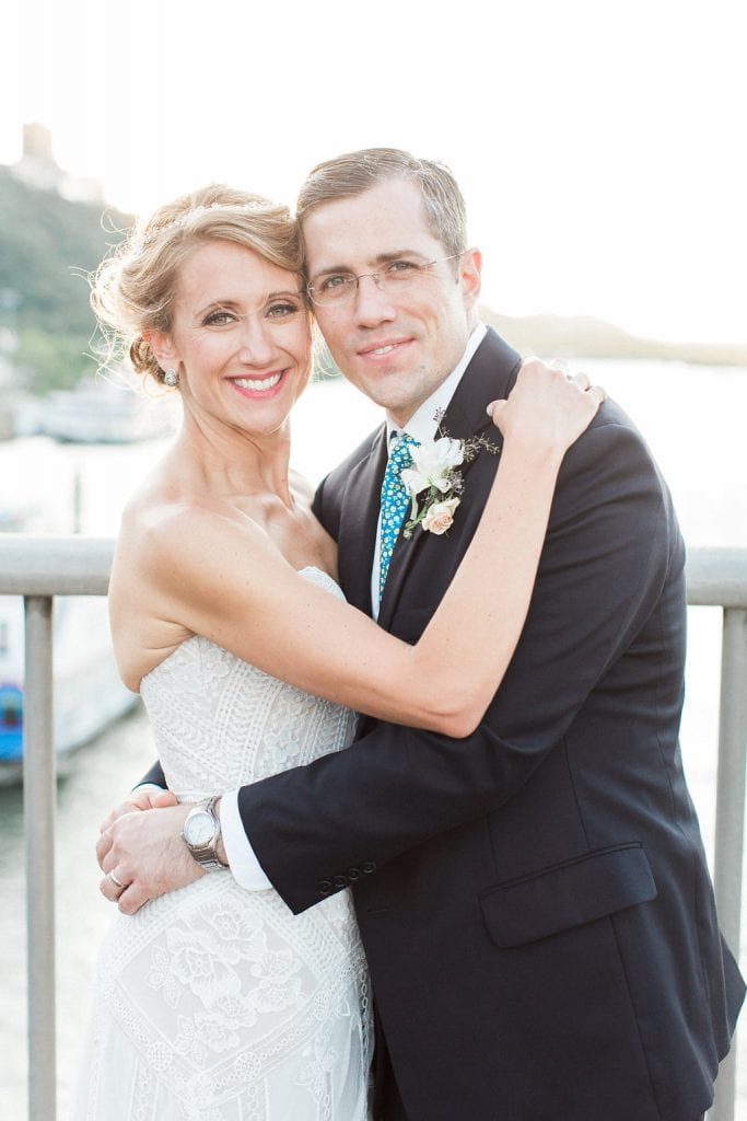 Bridal and groom portraits on Smithfield Street Bridge in Pittsburgh