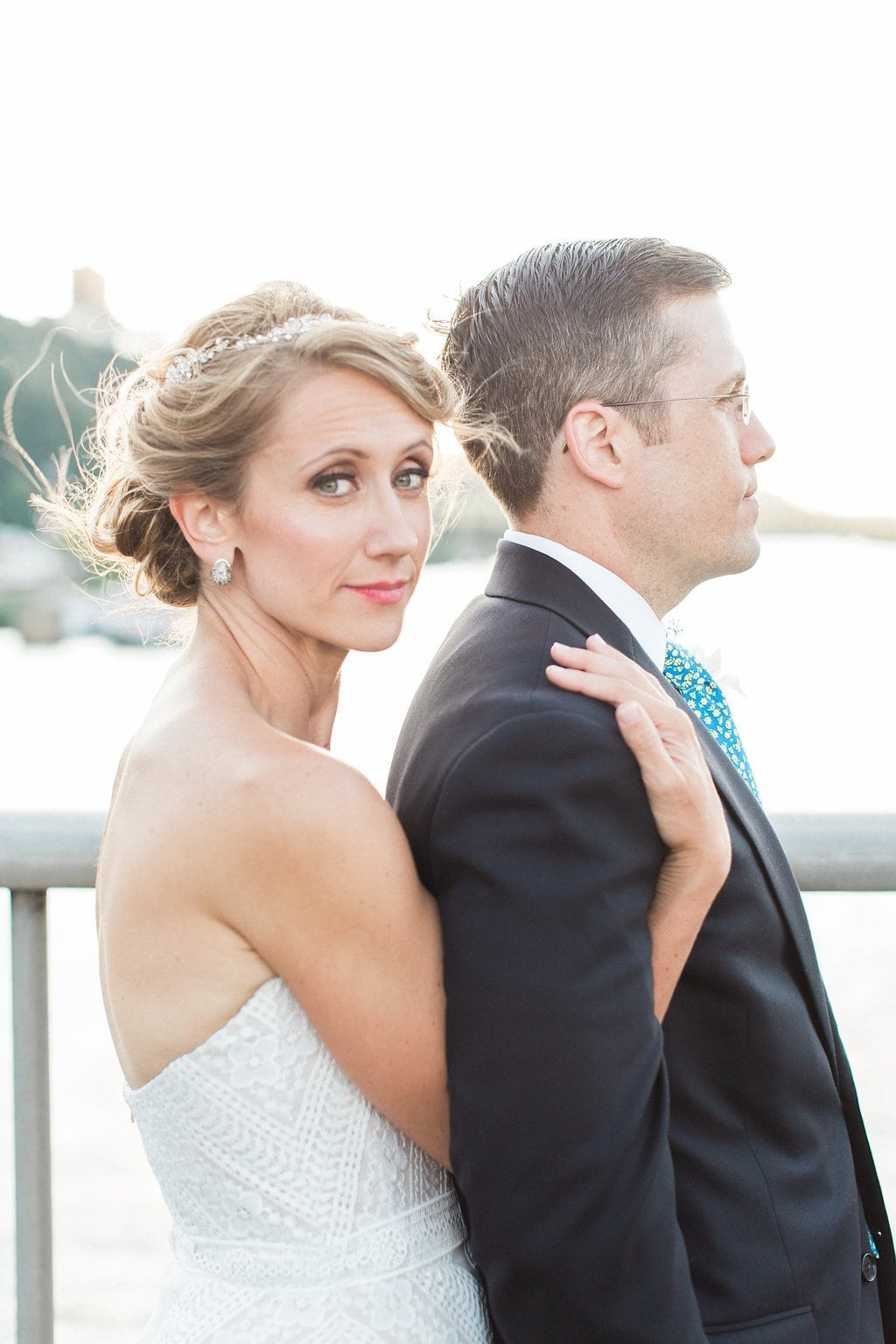 Bridal portraits on Smithfield Street Bridge - 1920's inspired wedding Grand Concourse