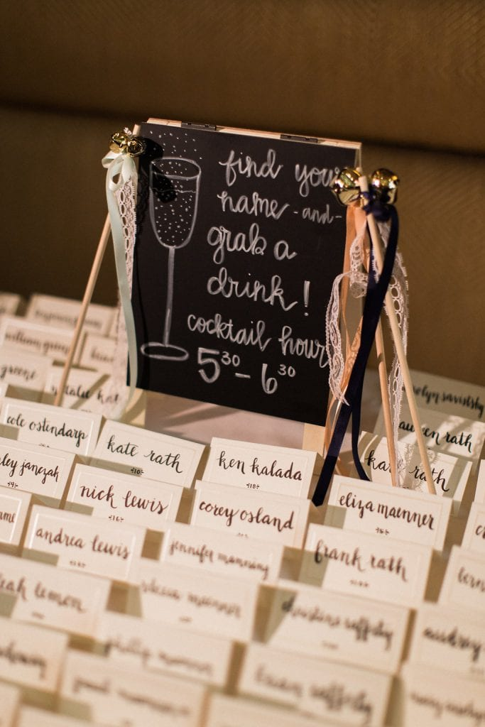 Wedding decorations and escort cards at Grand Concourse reception
