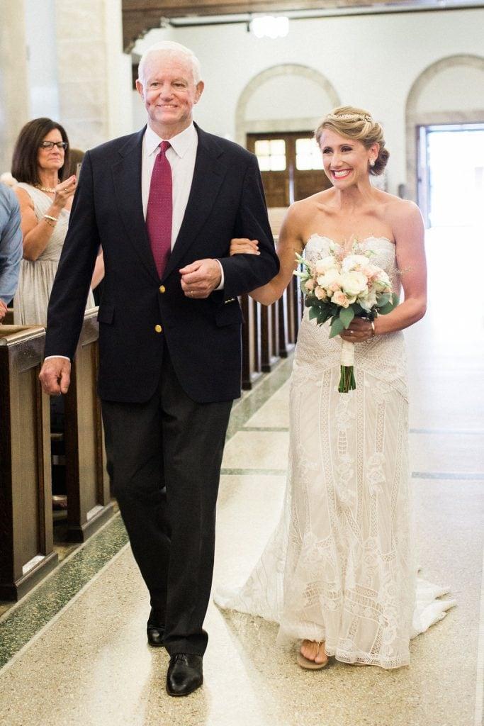 Arthur Thomas walks bride Jeni Stepien down the aisle