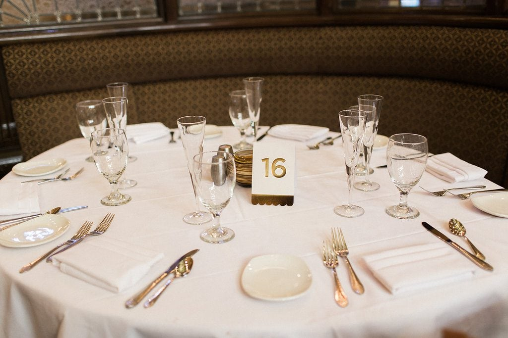 Simple place setting 1920's themed wedding reception at the Grand Concourse Station Square