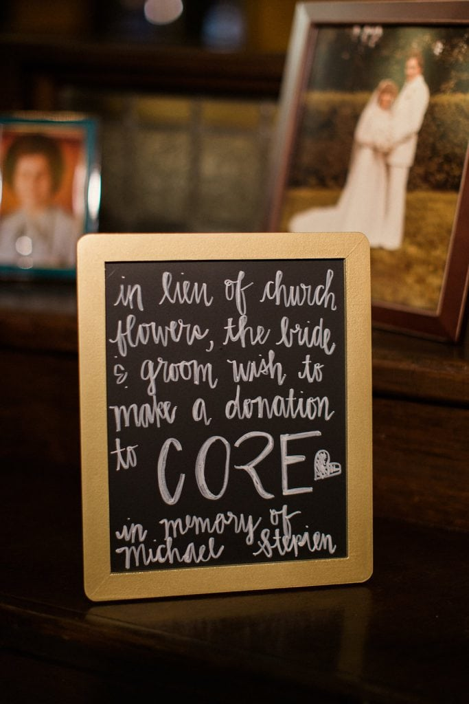 Core donation box at Jeni Stepien and Paul Maener's wedding reception