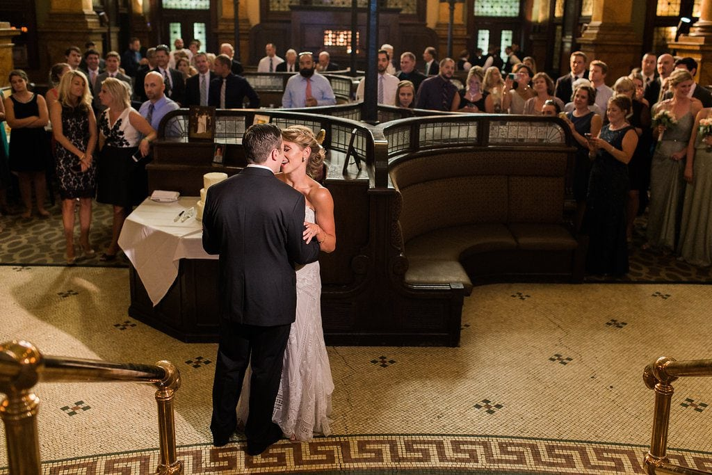 Bride and Groom sharing their first dance at the Grand Concourse during their wedding reception