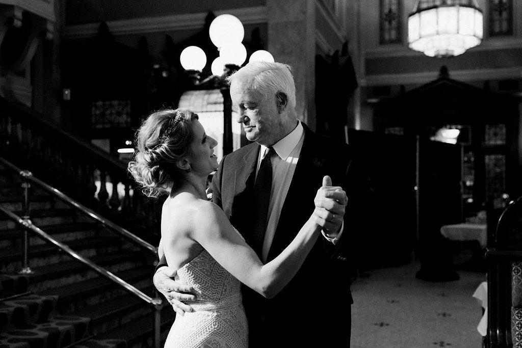 Jeni Stepien the bride dancing with Arthur Thomas at Grand Concourse Wedding Reception