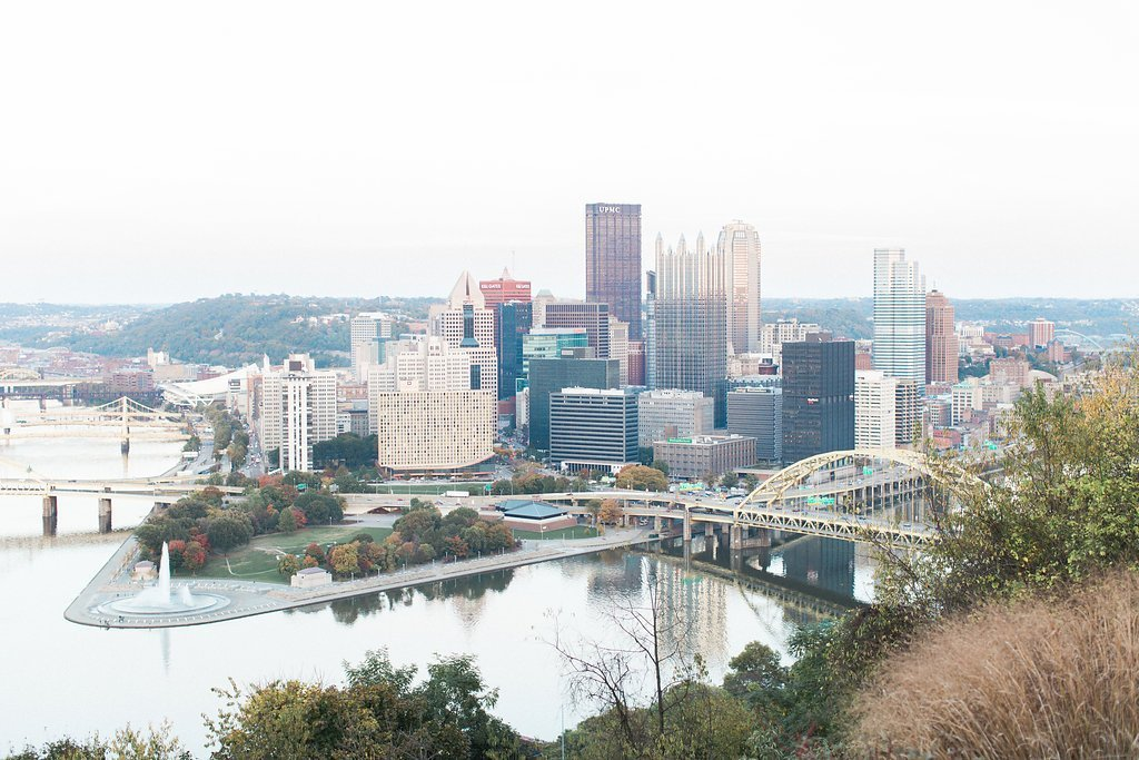 Photography of Downtown Pittsburgh from Mount Washington Overlook - Mt. Washington & South Side Pittsburgh Engagement Photography