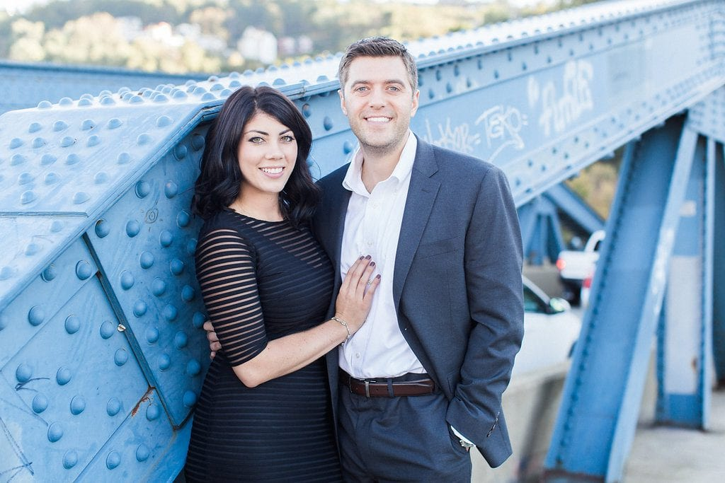 Bride and Groom during engagement photography session on Smithfield Street Bridge