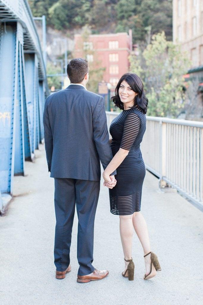 Bride and groom on Smithfield Street Bridge in Pittsburgh
