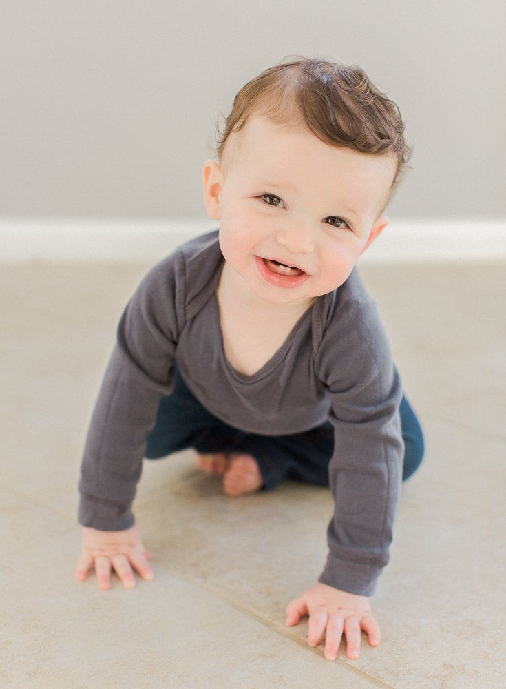 cute baby boy on his first birthday portrait session in New Rochelle