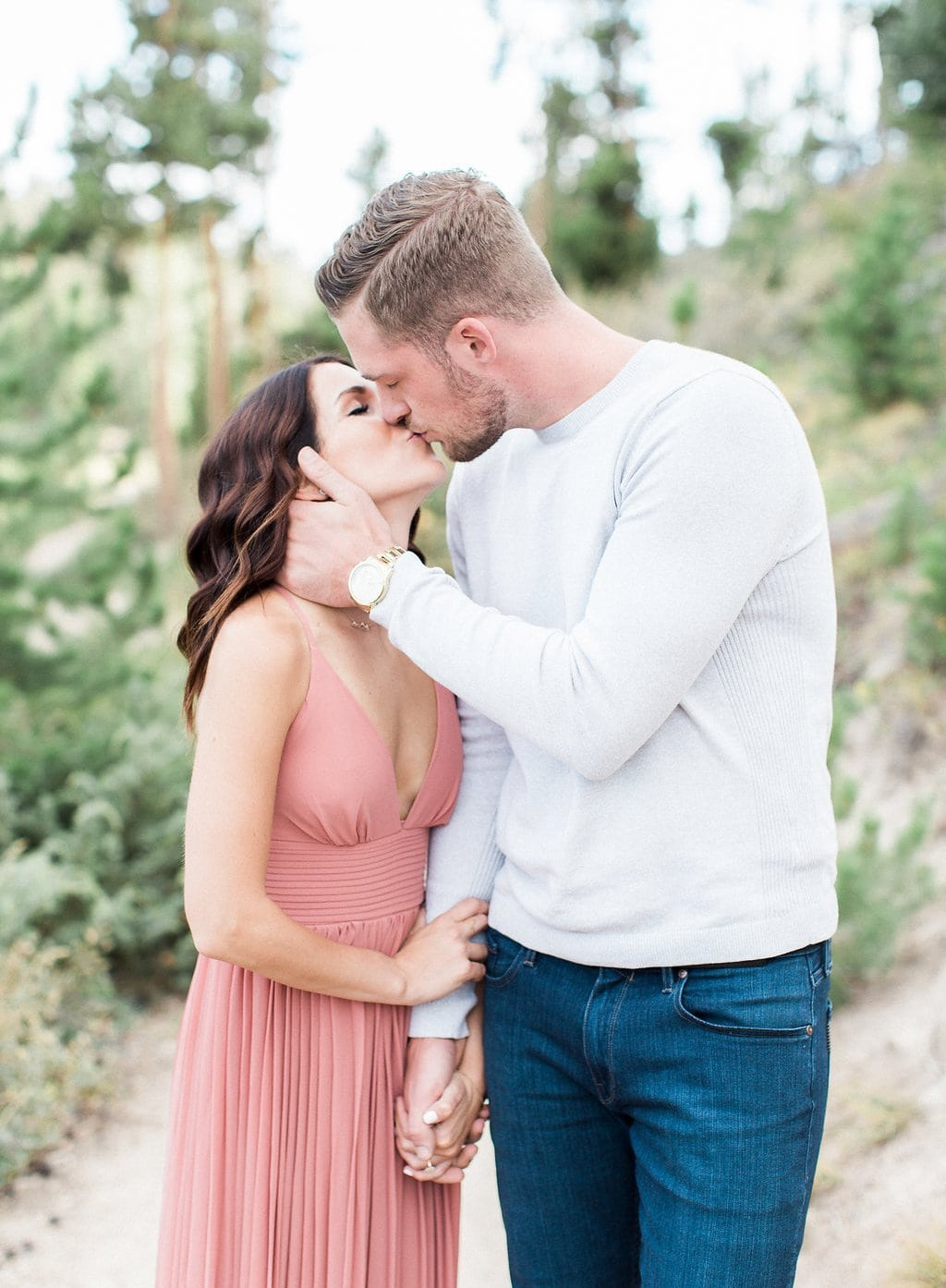 Lake Dillon, Colorado Engagement Photography groom and bride kissing