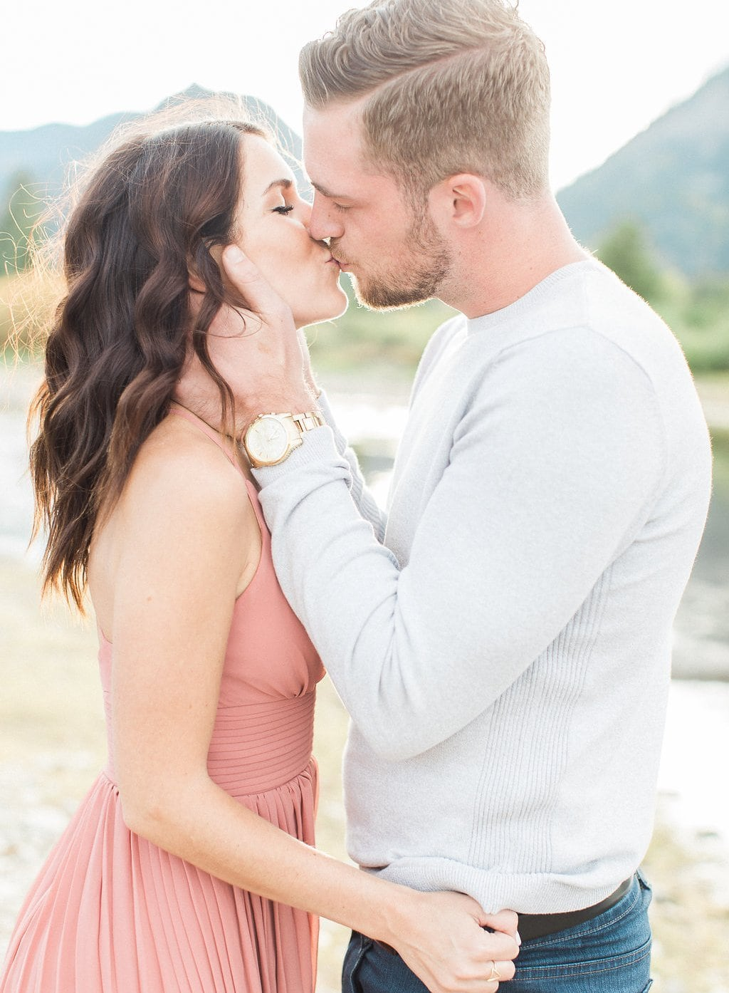 Lake Dillon, Colorado Engagement Photography bride and groom kissing