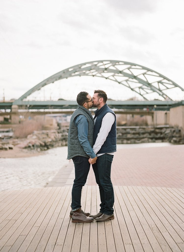 Estes Park Engagement Photography Session - gay couple kissing and holding hands