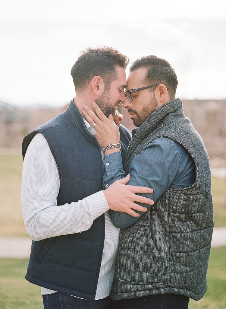 Estes Park Engagement Photography Session - gay men embracing during portraits