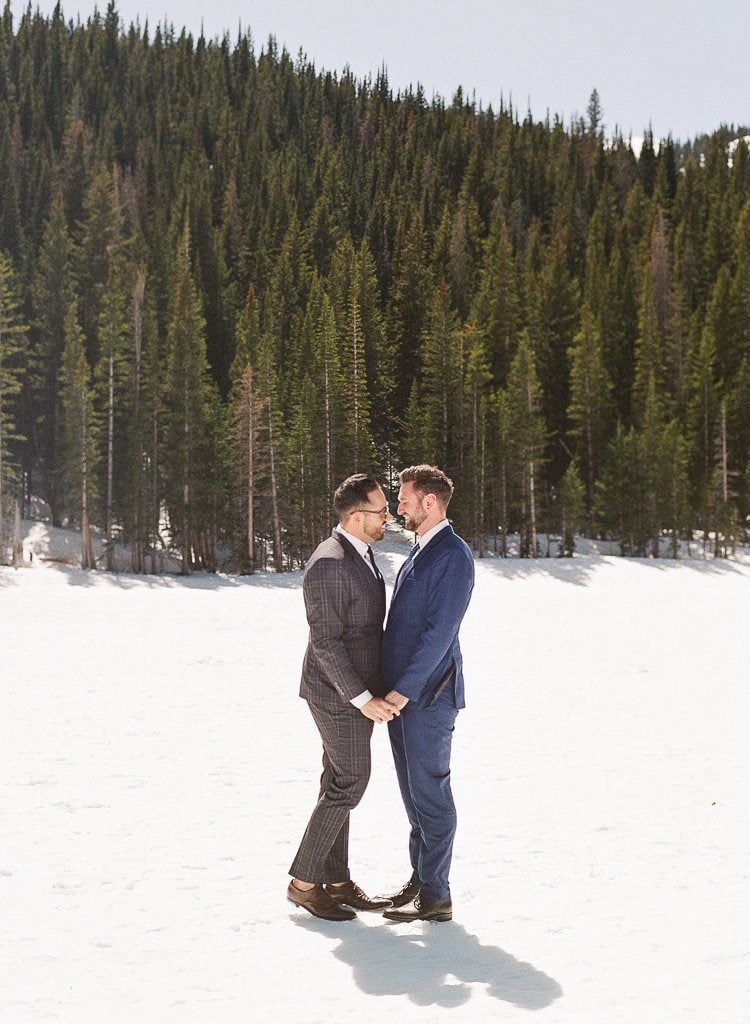 Estes Park Engagement Photography Session - two men holding hands in the snow