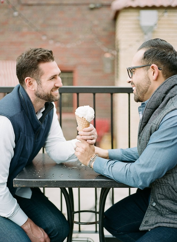 Estes Park Engagement Photography Session - gay couple sharing ice cream cone