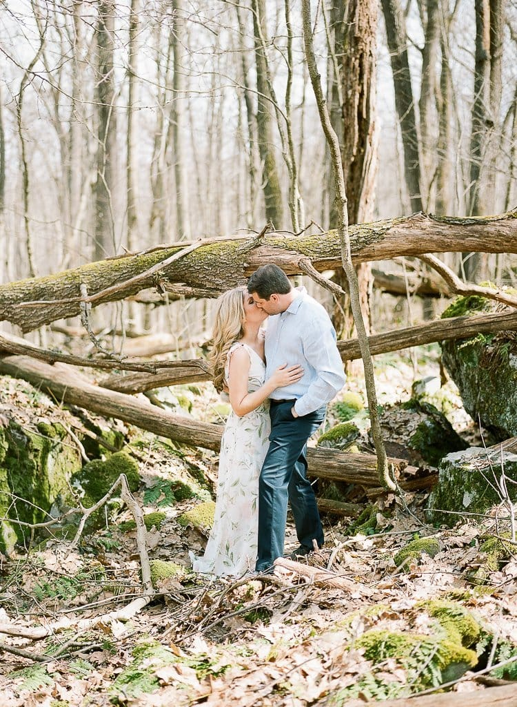 Seven Springs Engagement Photography - bride and groom kissing in the woods