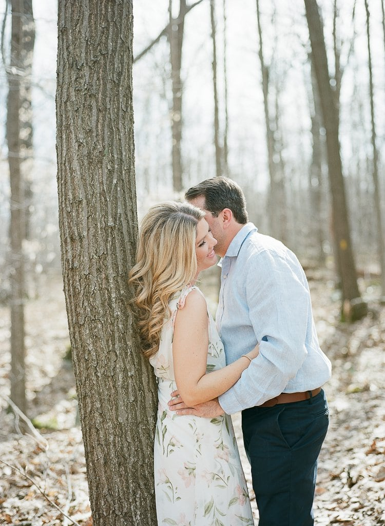 Seven Springs Engagement Photography - bride and groom laughing near a tree