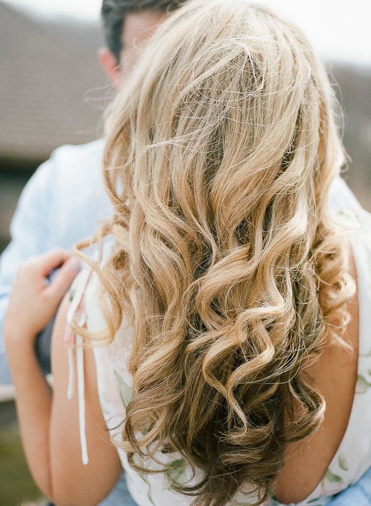 close up of bride's blonde curled hair