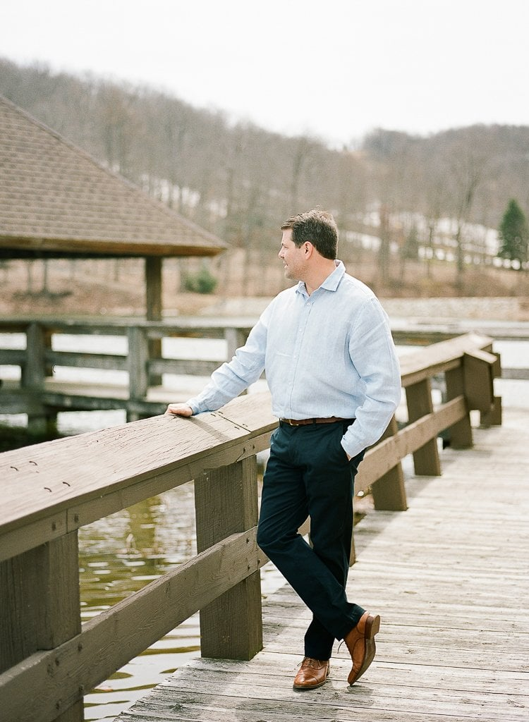 Seven Springs Engagement Photography - Groom posing on the dock