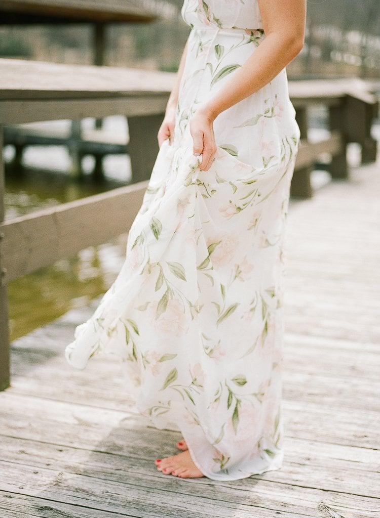 Seven Springs Engagement Photography - close up of bride's dress and hands