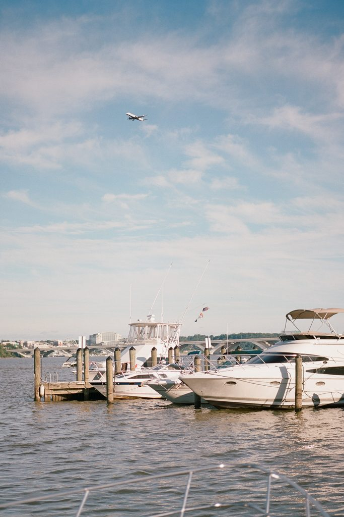 Boats by the dock in Old Town Alexandria Virginia