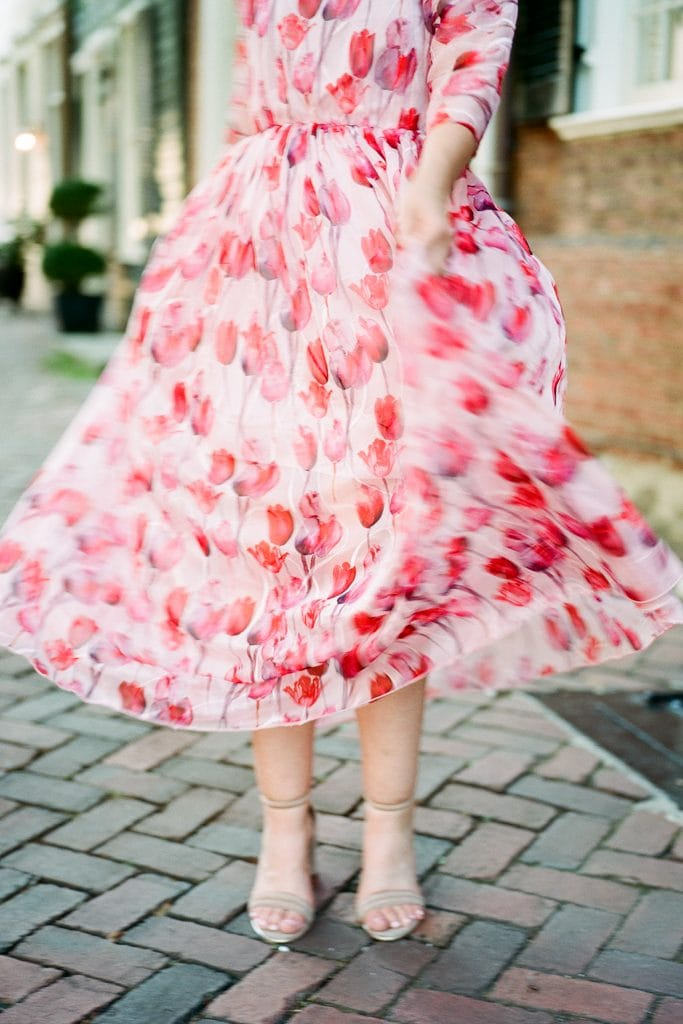Anthropolgie dress moving in the wind during engagement photos in Virginia