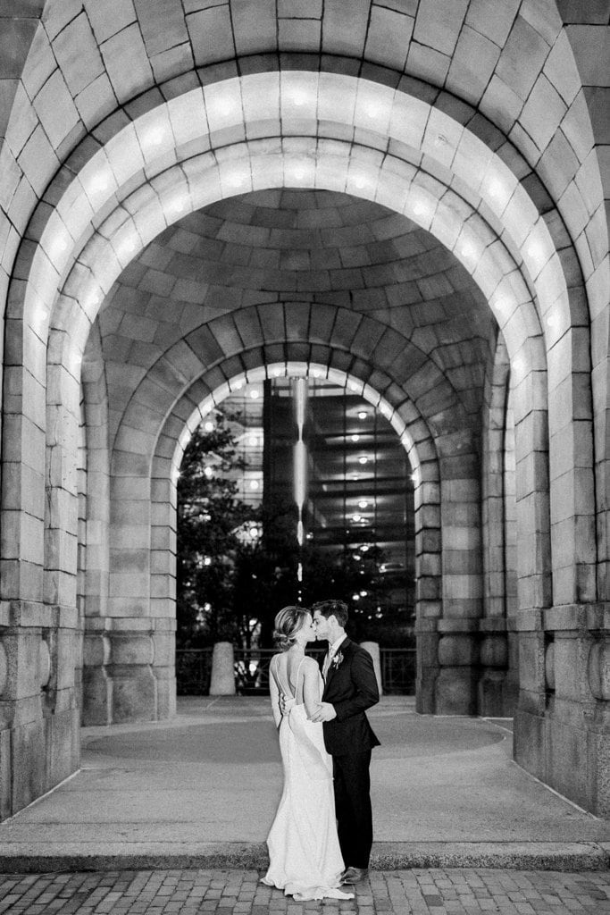 White and Gold Wedding at The Pennsylvanian black and white photo of bride and groom