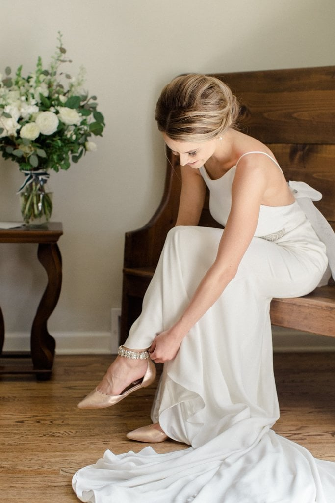 The Pennsylvanian Wedding Bride Badgley Mischka shoes getting ready- White and Gold Wedding at The Pennsylvanian