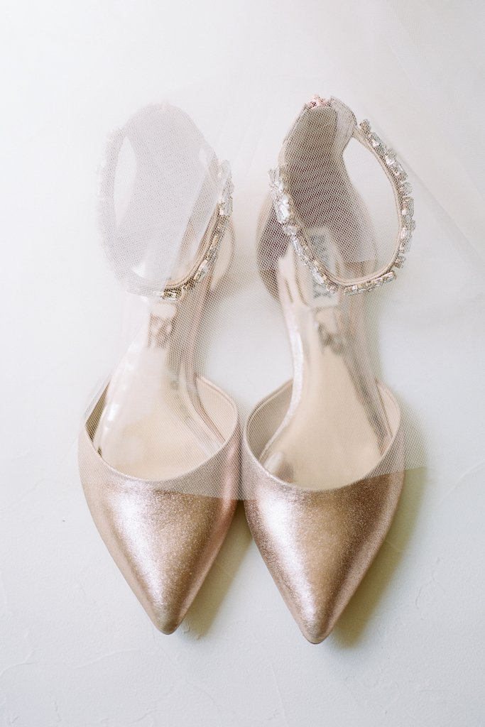 The Pennsylvanian wedding Badgley Mischka flat shoes - White and Gold Wedding at The Pennsylvanian