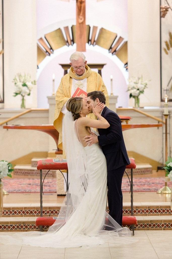 The Pennsylvanian Wedding First Kiss at St. Bede's Church - White and Gold Wedding at The Pennsylvanian