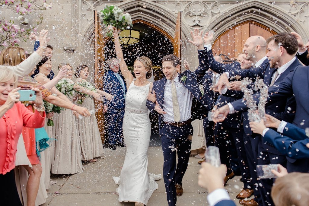 The Pennsylvanian Wedding Confetti exit at St. Bede's church- White and Gold Wedding at The Pennsylvanian