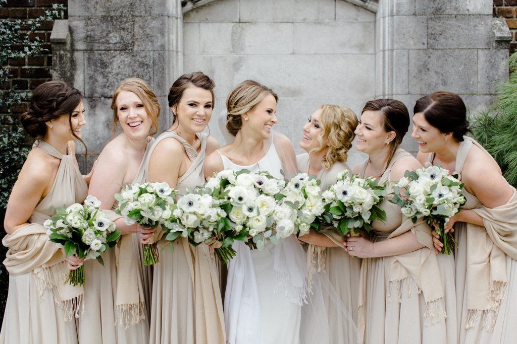 The Pennsylvanian Wedding bridal party portraits at Mellon Park flowers from Farmer's Daughter
