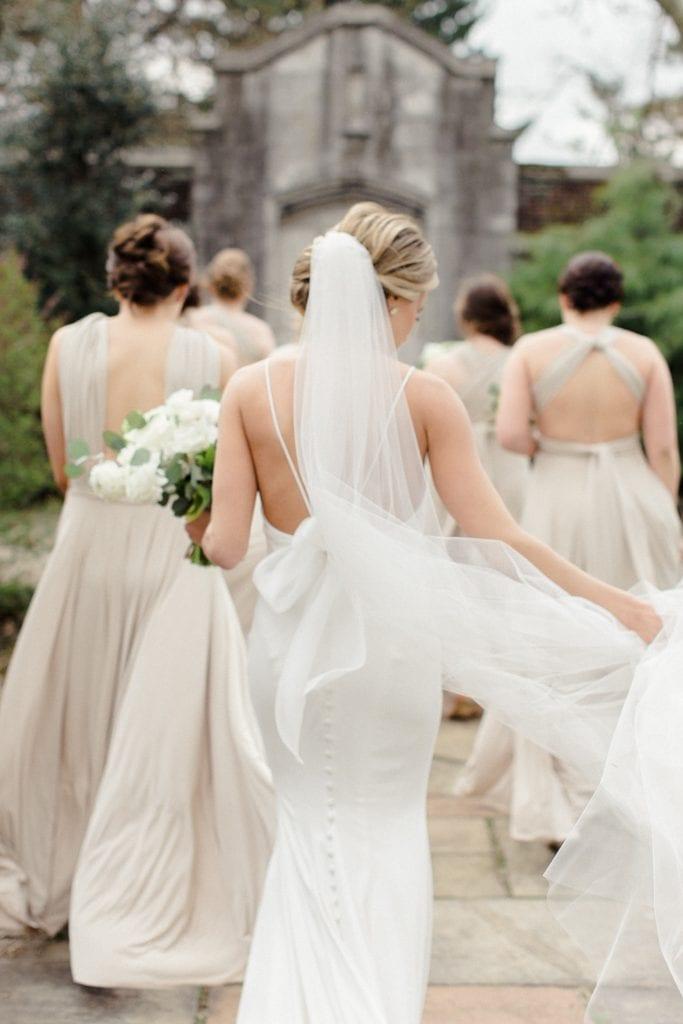The Pennsylvanian Wedding bridal party portraits at Mellon Park dress Paloma Blanca