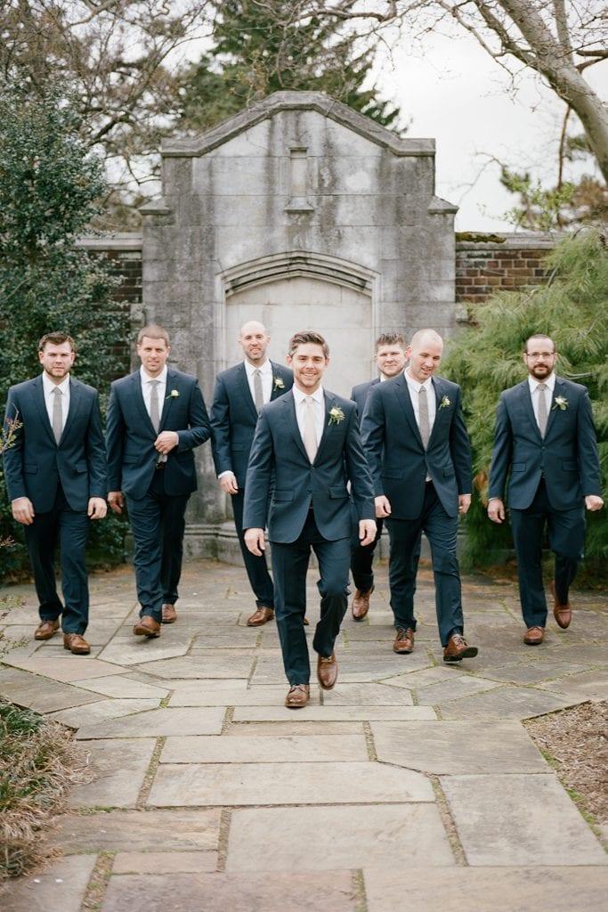The Pennsylvanian Wedding bridal party groomsmen portraits at Mellon Park