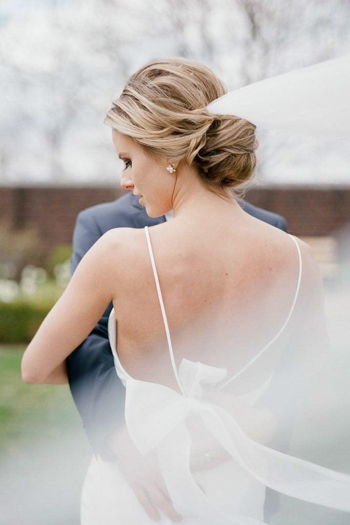 The Pennsylvanian Wedding Bride and groom portraits at Mellon Park with veil