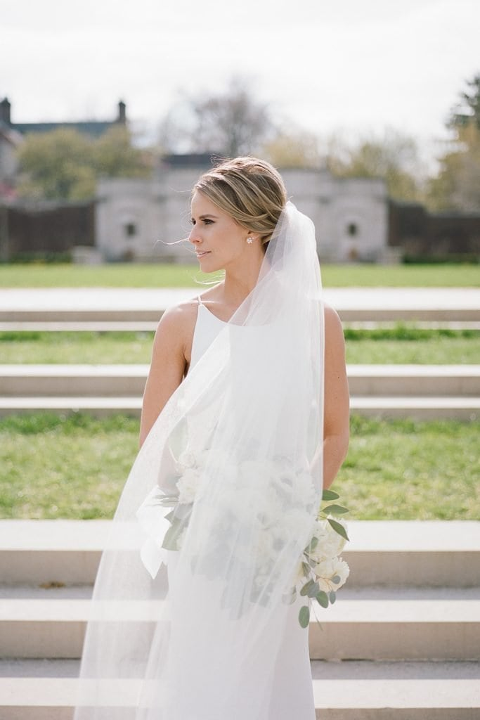 The Pennsylvanian Wedding Bride and groom portraits at Mellon Park flowers from Farmer's daughter white and gold