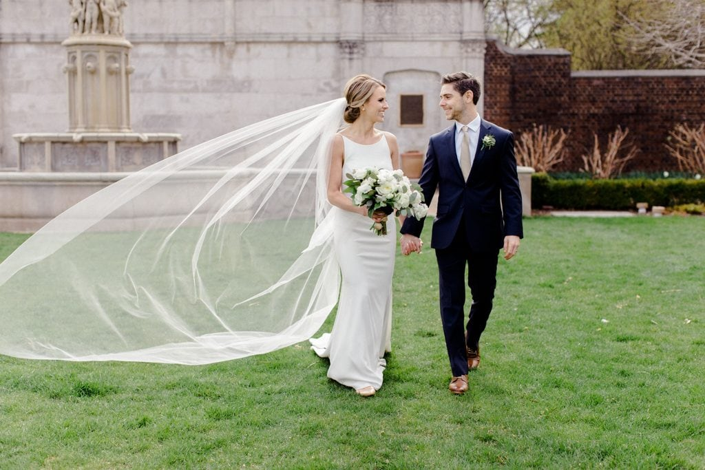 The Pennsylvanian Wedding Bride and groom portraits at Mellon Park dress Paloma Blanca